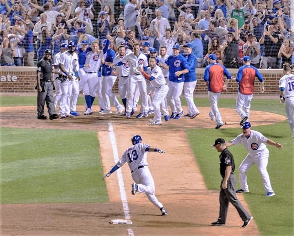 Primary image for David Bote Golden HR Walk-Off Grand Slam Action Pic PhotoArt Various Sizes