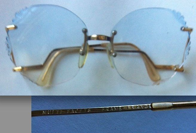 EROS 22K gold eyeglasses frames blue lenses vintage mod regency Made in France R - $193.32