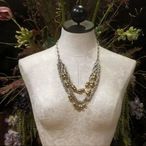 Ann Taylor LOFT Chunky Silver & Gold Byzantine Bib Statement Necklace - $29.95