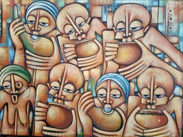 Original oil painting, Village people party painting, African canvas, Wa... - $750.00