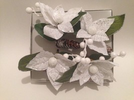 4 NAPKIN RING HOLDERS BY KIM SEYBERT CHRISTMAS/HOLIDAYS WHITE  SPARKLING... - $39.59