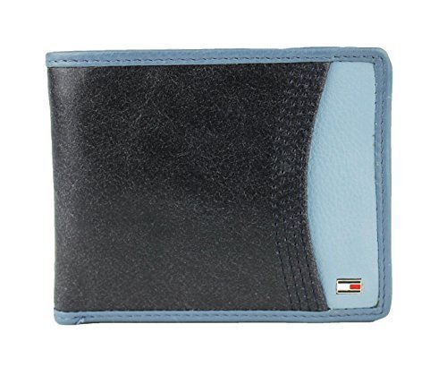 New Tommy Hilfiger Men's Leather Passcase & Valet Wallet (Navy)