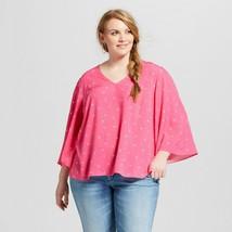 Womens Plus Size Ava & Viv Geometric Print 3/4 Sleeve Blouse Berry Size ... - $8.90