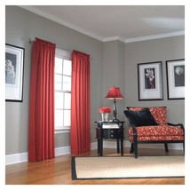 "Allen Roth Lincolnshire Rod Pocket Window Panel Drape Curtain RED 84""L NIP - $26.71"