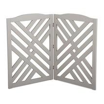 Solid Wood Gray Finish Lattice 2 Panel Freestanding Pet Gate Fence Barrier - $98.95