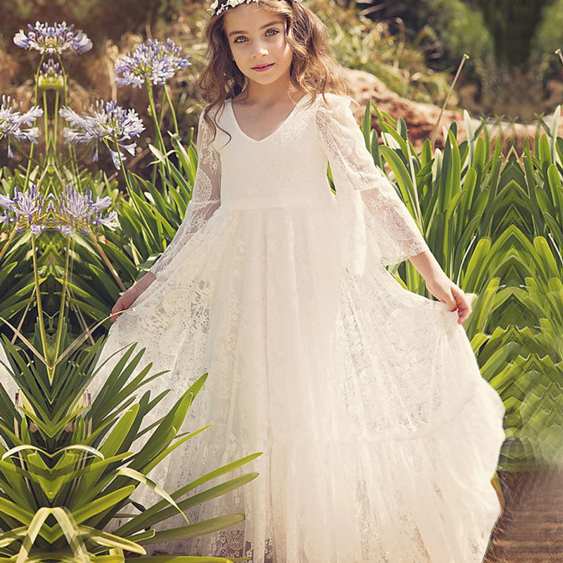 2019 Sexy Ivory Lace A Line Long Flower Girl Dress With Sleeve V-Neck Party Gown