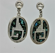 24.7 GRAMS STERLING SILVER TURQUOISE NATIVE AMERICAN STYLE STUD MEXICO E... - $60.46
