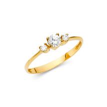 14K Solid Gold 3 Stones Cubic Zirconia Fancy Ring - £90.23 GBP