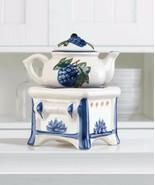 Teapot and Stove Oil Warmer White Porcelain W/ Blue Floral & Grape Motif - $19.45