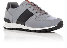 NIB Prada Mens Gray Black Stripe Leather Nylon Low-Top Trainer Sneakers ... - $365.00