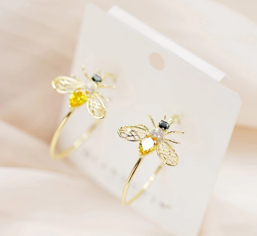 Yellow Zirconia Bee Earrings Hoop Luxury Insect Jewelry Natural Statement