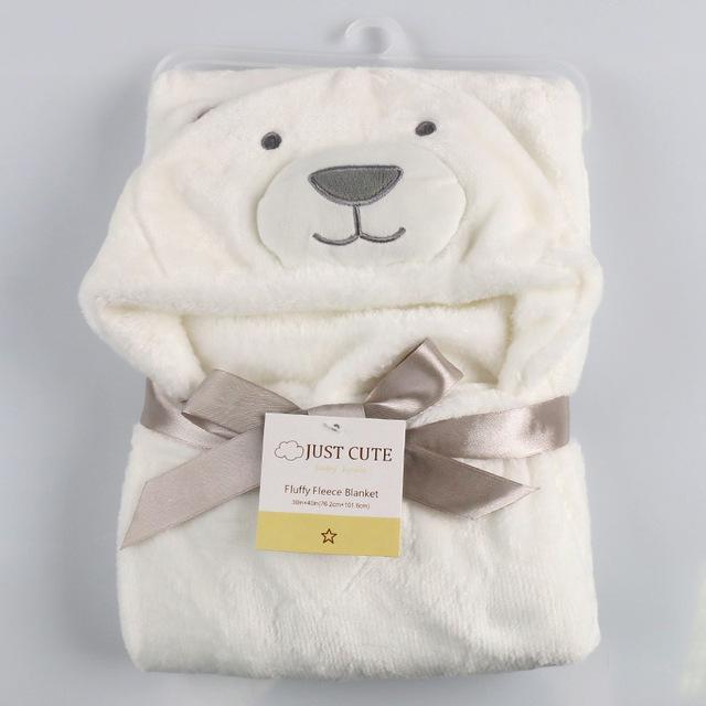 Cute Fleece Baby Bath Hooded Bathrobe Towel Animal Shape