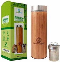 Bamboo Tumbler with Tea Infuser - 17oz Stainless Steel Water Bottle - BP... - $17.81