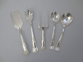 5 pc Sheffield Italy Silverplate Serving pieces Kings Salad, Pasta, Meat... - $100.00