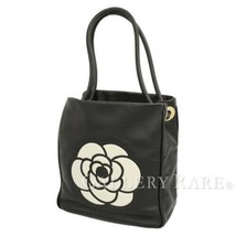 CHANEL Tote Bag Calf Leather Black A20856 Camelia Logo France Authentic ... - $1,082.19