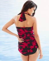 New $142 Magicsuit Women's Mystique Jules Halter Tankini Top Vamp Red Black Sz 8 image 2