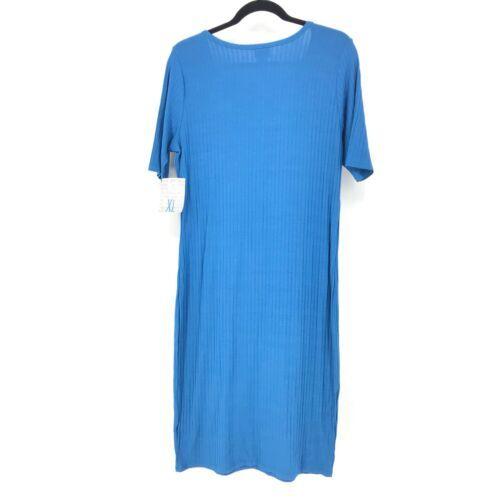 Lularoe Womens Size XL Julia Midi Dress Ribbed Solid Blue Knit NEW Short Sleeve