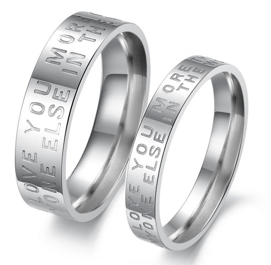 2d26e35b39 Tuyjryri5. Tuyjryri5. Previous. 2pcs Love Letter Stainless Steel Couple  Ring Promise Engagement Wedding Rings