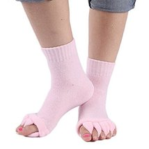 1 Pair Yoga GYM Massage Five Toe Separator Socks Foot Alignment Pain Rel... - $8.99