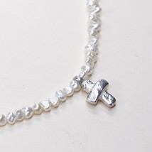 RARE Silpada Freshwater Pearl Bead Cross Pendant Sterling Silver Necklace N2178 - $89.64