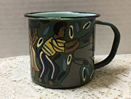Vintage Enamelware Tin Cup Hand Painted African Folk Art Collectible Artsy - $10.25