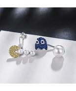 Queen Lotus Asymmetric Cartoon Stud Earrings Women Cartoon Pac-Man Pearl... - $19.28