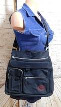 FOSSIL Large Black Canvas Shoulder Tote Bag Purse