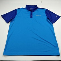 Nike Golf Dri Fit Mens Golf Polo Shirt L Large Blue American National Bank SS - $21.06