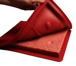 Large Burger Press Forms 6 Thick Square Patties Time With Dimples 1/3 Pound - $15.51