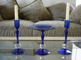 Pairpoint Art Glass 3 Cobalt Blue Controlled Ball Console Pieces - $879.25