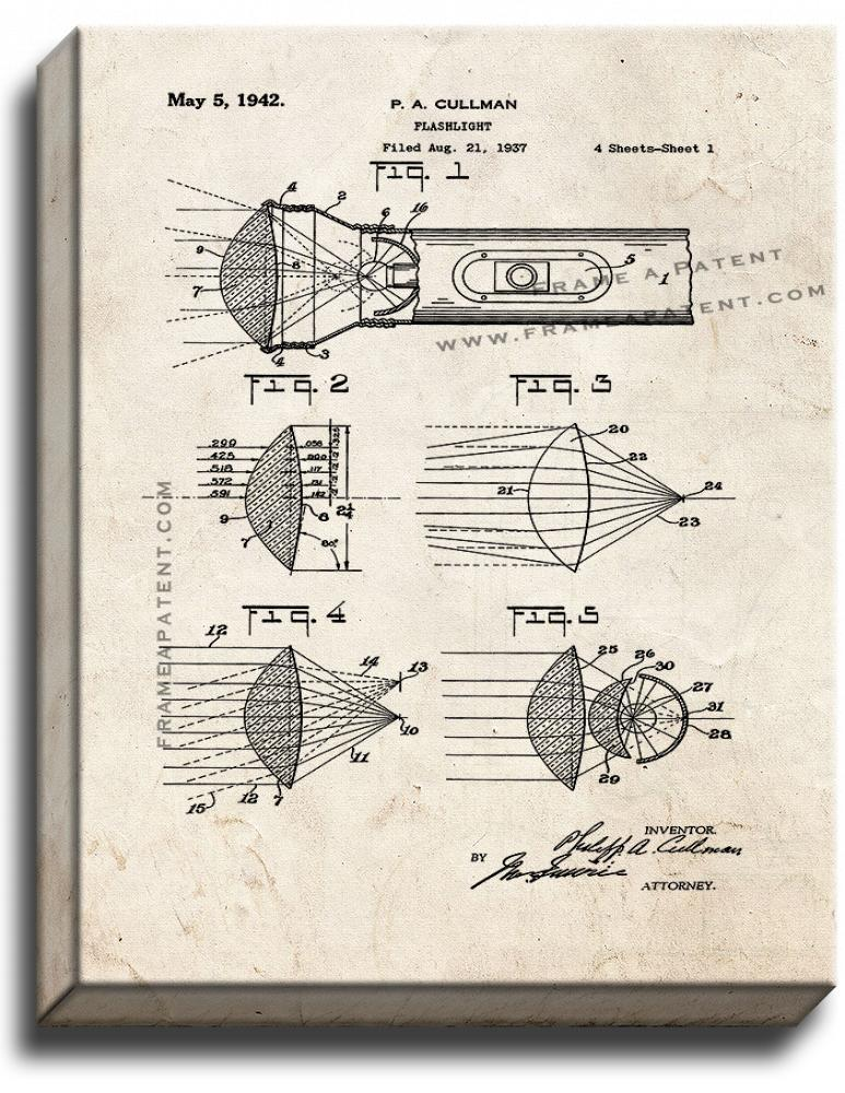 Primary image for Flashlight Patent Print Old Look on Canvas