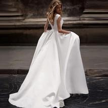 Sleeveless Lustrous Solid Satin Wedding  V-Scoop  Neck Bridal Gown
