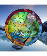 """Stained Glass Window Panel ROUND 30"""" Stormy MOUNTAIN Moonlight Tree turq... - $197.00"""
