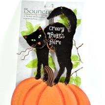 Creepy Treats Here Black Cat & Pumpkin Halloween Bouncy Garden Hanging Sign image 2