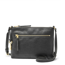 Fossil Fiona EW Black Leather/PVC Trim Zipper Closure Crossbody - $239.99