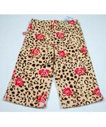 KRU LITTLE NWT GIRLS INFANT 12M PANTS LEOPARD & ROSES PRINT PRINT VELVET... - $9.89