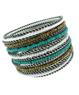 Cable Twisted Oxidized Silver Seed Bead Turquoise White Bangle Bracelet ... - $19.97