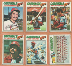 1977 Topps St Louis Cardinals Team Lot Lou Brock Keith Hernandez Garry Templeton - $7.75