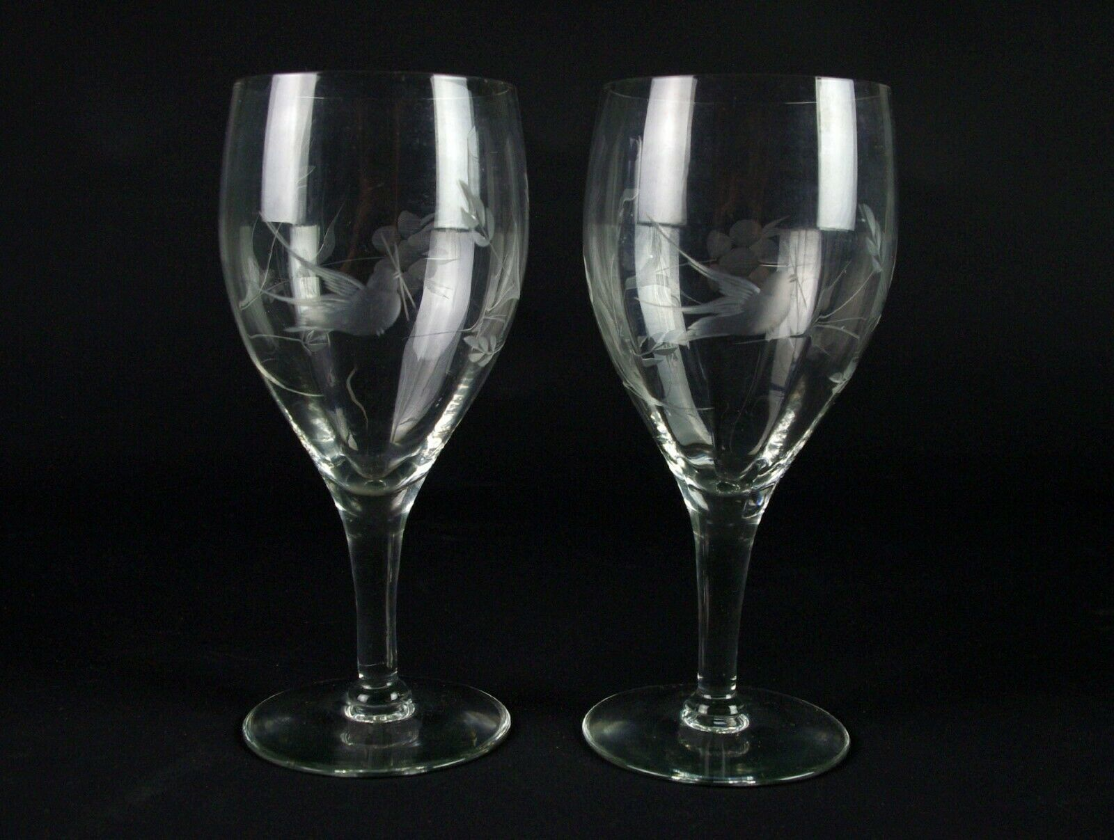 Primary image for Fostoria 863 Optic Goblets Set Gray Cut Bird & Floral, Antique Elegant Glass 7""