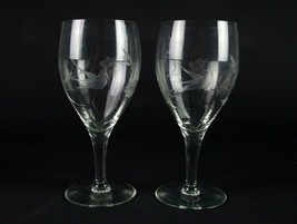 Fostoria 863 Optic Goblets Set Gray Cut Bird & Floral, Antique Elegant G... - $29.40