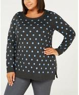 CHARTER CLUB Gray/Blue Polka Dot Long Sleeve Tunic Sweater NWT 1X - $9.37