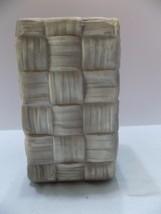 Vintage Shawnee Vase Gray Basket Weave Pink Inside Planter Pottery 842 (... - $7.87