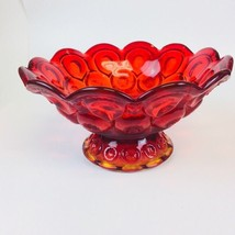 Vintage L.E. Smith Moon & Stars Amberina Glass Footed Centerpiece Bowl P... - $17.82