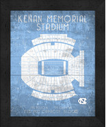 "North Carolina Kenan Memorial ""Retro"" Stadium Seating Chart 13x16 Framed... - $39.95"