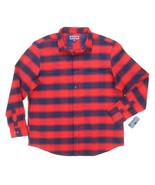 NEW CLUB ROOM FIRE RED NAVY PLAID FLANNEL COTTON BUTTON DOWN SHIRT SIZE 3XL - $8.90