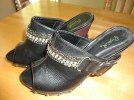 """Black Heels Qupid Euc Biker 3"""" Heel Sandals Women's 6.5 Bling Chain - $20.00"""
