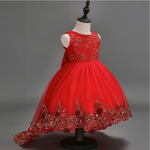 Red Tull High Low Flower Girl Dress Gold Lace Kids Party Gowns Pricess P... - £33.07 GBP