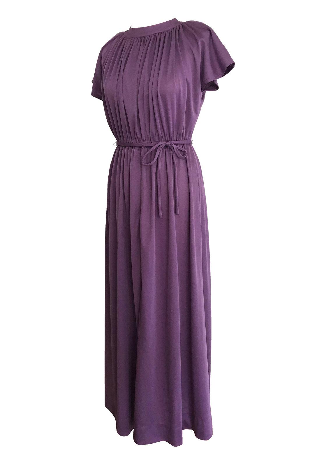 70s Lavender Plum Heather Grecian Style Ruched Draped Tunic Raglan Kimono Sleeve image 6