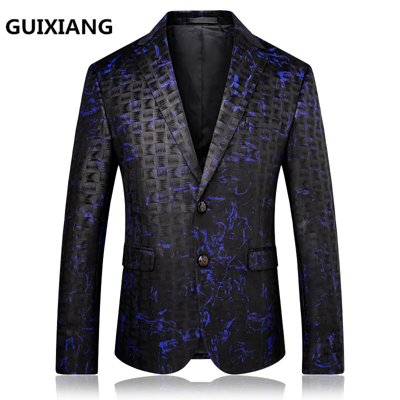 "Primary image for 2017 autumn British style Men""s suits casual fashion printing blazer men jackets"