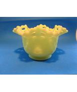 Fenton lime green vaseling glass basket weave bowl. - $10.00